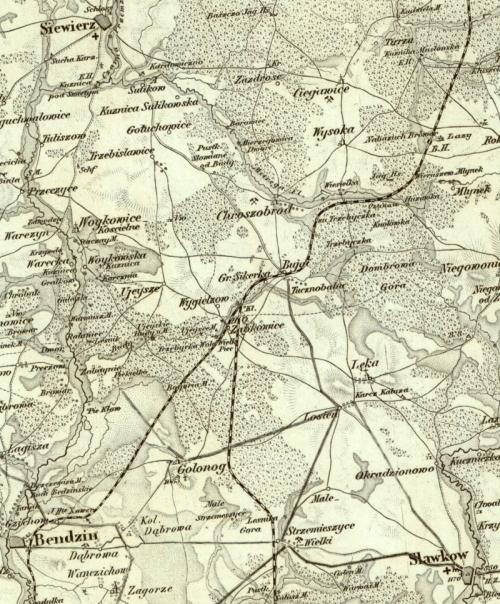 Mapa Reymanna z XIX wieku. Droga widoczna wyraźnie, chociaż miejscami przebiega inaczej niż dzisiaj.